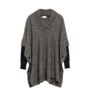 RD Style Calandri contrast grey and black poncho